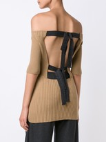Jason Wu Merino Silk Knit Sweater With Back Ribbon Detail