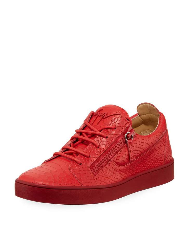Giuseppe Zanotti Men's Croc-Embossed Leather Low-Top Sneakers