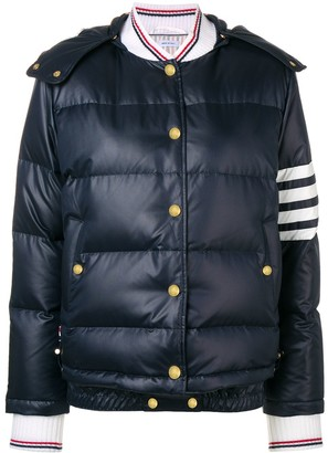 Thom Browne Navy 4-Bar Down Hood Bomber