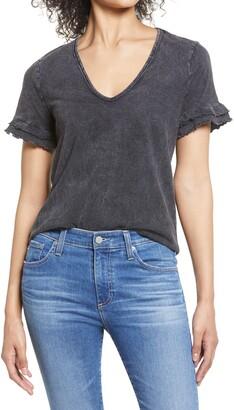 Everleigh Mineral Wash V-Neck Ruffle Sleeve T-Shirt