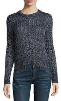 Rag & Bone Adira Marled Cable Knit Crewneck Sweater, Navy