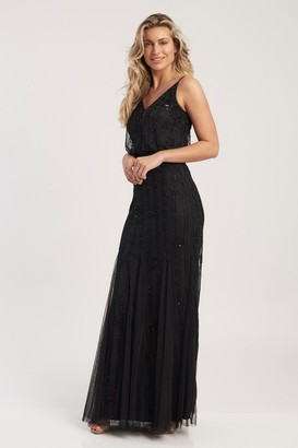 Lace & Beads strappy hand embellished blouson maxi