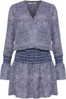 Derek Lam 10 Crosby Gathered Printed Silk-Voile Mini Dress