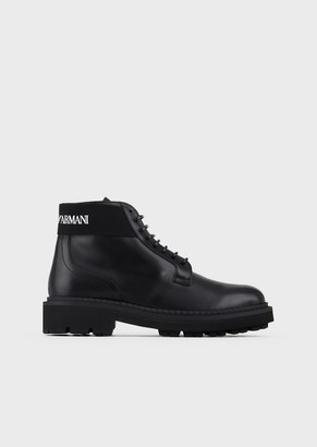 Emporio Armani Leather Ankle Boots With Logo Leg