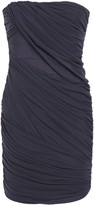 Herve Leger Strapless Ruched Layered Tulle And Bandage Mini Dress