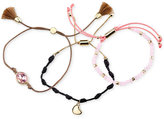 Unwritten Gold-Tone 3-Pc. Set Tassel, Charm and Crystal Cord Slider Bracelets