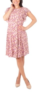 NY Collection Petite Floral-Print Ruffle Dress