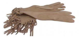 Hermes Beige Suede Gloves