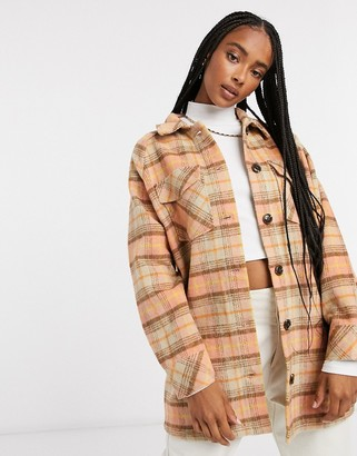 Only longline shacket in orange check