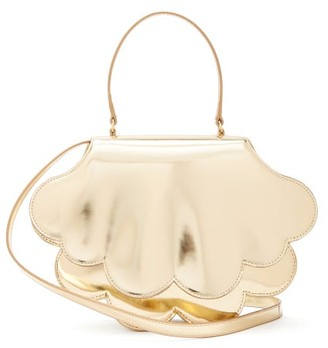 Simone Rocha Flower Bean Patent-leather Clutch Bag - Womens - Gold