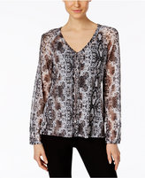 INC International Concepts Petite Printed Lace-Up Blouse, Only at Macy's
