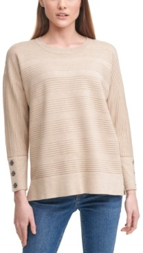 Calvin Klein Striped Button-Sleeve Sweater