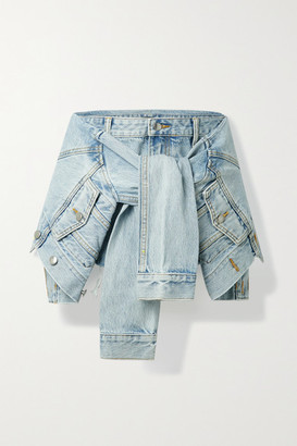 Alexander Wang Tie-front Layered Frayed Denim Shorts - Light denim