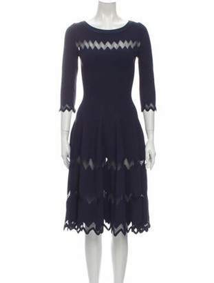 Alaia Scoop Neck Long Dress Blue