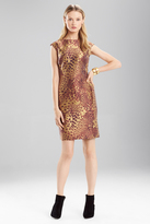 Josie Natori Animal Jacquard Sleeveless Dress