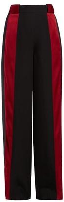 Marni Satin-stripe High-rise Crepe Trousers - Womens - Black Red