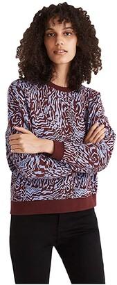 Madewell Oversized Sweatshirt in Tigerized Print (Dark Cabernet) Women's Clothing