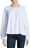 MiH Jeans Veron Pleated Poplin Top w/ Embroidery