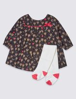 Marks and Spencer 2 Piece Pure Cotton All Over Print Dress with Tights