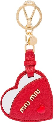 Miu Miu Madras heart leather keychain