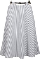 Toga Pulla Striped Belted Cotton Skirt