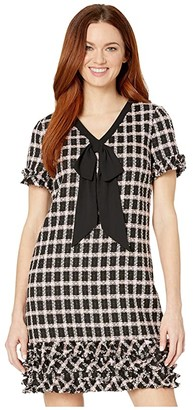 CeCe Short Sleeve V-Neck Grid Tweed Dress with Tie (Rich Black) Women's Dress