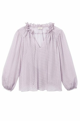 Rebecca Taylor Lilac Long Sleeve Satin Dot Blouse - UK 12