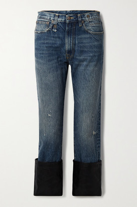 R 13 Axl Cropped Leather-trimmed Distressed High-rise Straight-leg Jeans - Mid denim