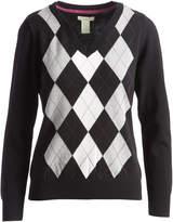 Caribbean Joe Black & White Argyle Sweater