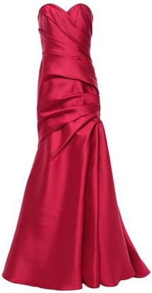 Badgley Mischka Strapless Pleated Faille Gown