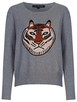 French Connection Tiger Appliqué Jumper, Mid Grey Mel
