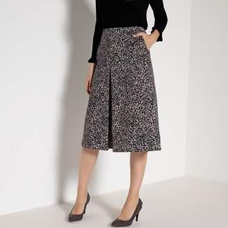 Anne Weyburn Animal Print Stretch Cotton Satin Skirt