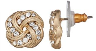 Dana Buchman Gold Tone Knot Stud Earrings with Swarovski Crystals