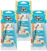 Yankee Candle Car Jar Classic Cardboard Car ,Home and Office Hanging Air Freshener, Bahama Breeze Scent (Pack of 3)