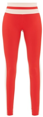 Vaara Flo Striped Performance Leggings - Red Multi