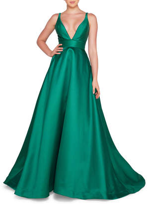 Mac Duggal Ieena for Sleeveless Plunging V-Neck Mikado Ball Gown