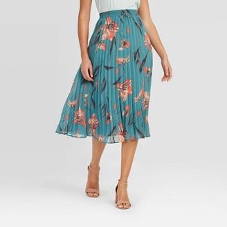 Women's High-Rise Pleated A-Line Midi Skirt - A New DayTM