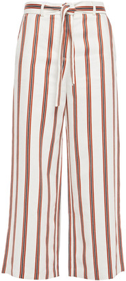 Maje Pomala Cropped Belted Striped Twill Wide-leg Pants