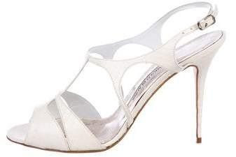 Manolo Blahnik Snakeskin Multistrap Sandals