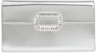 Roger Vivier Crystal Buckle Metallic Leather Envelope Clutch