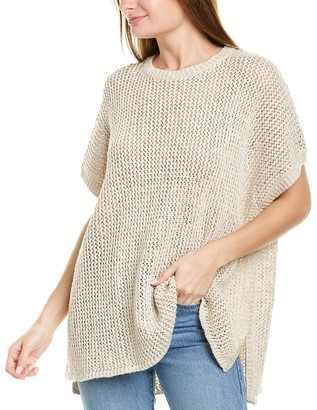 James Perse Open Knit Linen-Blend Poncho