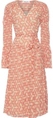 Diane von Furstenberg Ani Pleated Printed Chiffon Midi Wrap Dress