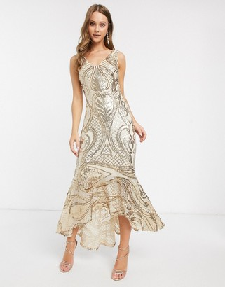 Forever U sequin maxi dress with high low hem in gold
