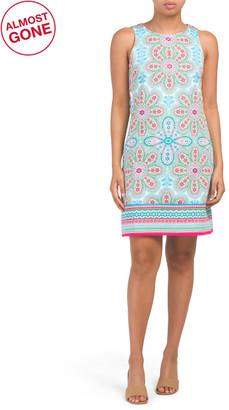 Cotton Sateen Floral Tile Print Shift Dress