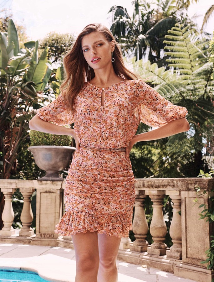Forever New Kylie Ruched Mini Dress - Packed Floral Ditsy - 10