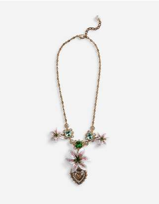 Dolce & Gabbana Short Necklace With Resin Lily Embellishment