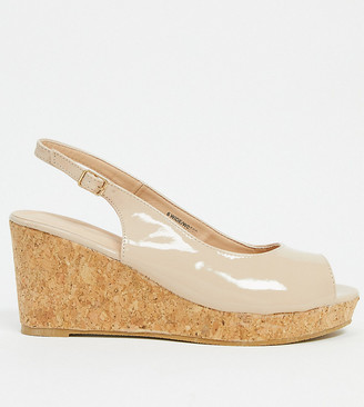 Simply Be wide fit wedges in beige