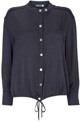Mint Velvet Navy Satin Bomber Blouse