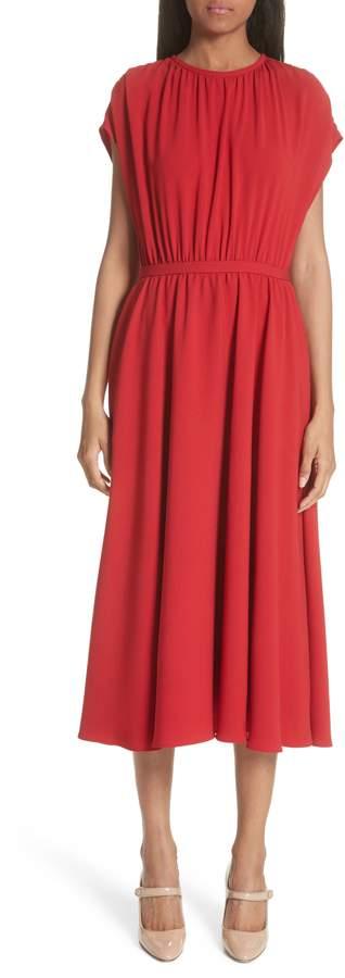 Co Gathered Crepe Midi Dress