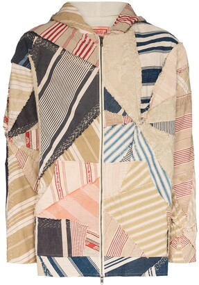 By Walid Phoenix patchwork hooded jacket